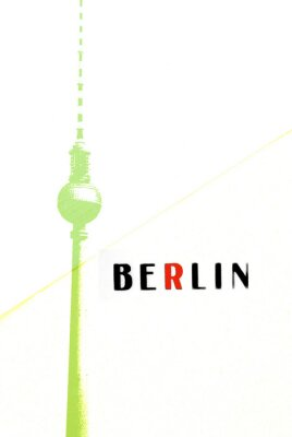 Poster Berlino Cartolina - Torre della TV e le lettere su backg astratto