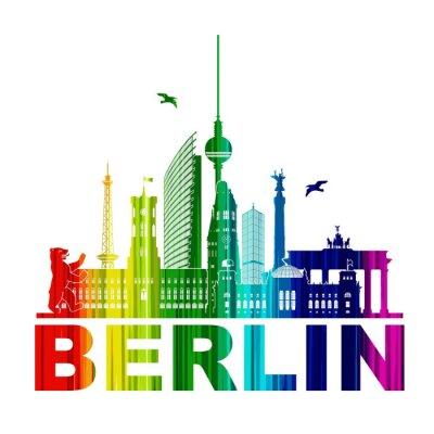 Poster Berlino Silhouette Umriss Wandtatoo Schattenriss Elemente Regenbogen Fernsehturm Bär Rathhaus Reichstag Brandenburger Tor Funkturm
