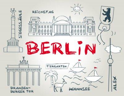 Poster Berlino, Wahrzeichen, illustrazione