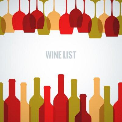 Poster bicchiere di vino bottiglia di arte
