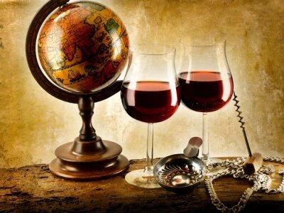 Poster bicchieri di vino rosso