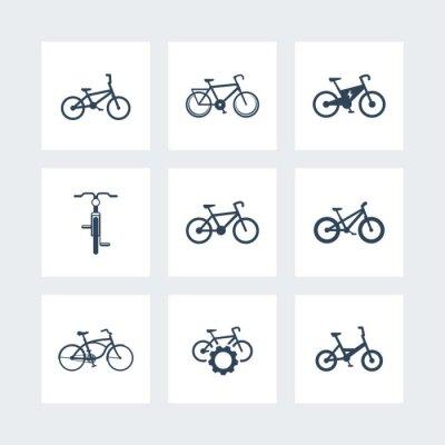 Poster bicicletta, bicicletta, bici, bici elettrica, grasso-bike semplici icone, illustrazione vettoriale