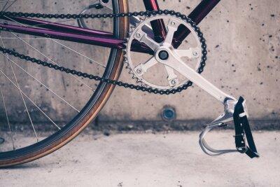 Poster bicicletta della strada e muro di cemento, scena urbana stile vintage