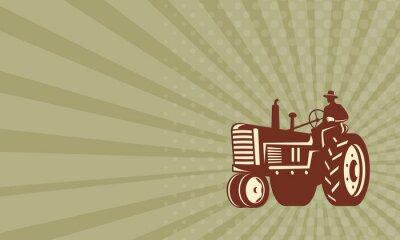 Poster Biglietto da visita Farmer guida del trattore d'epoca Retro