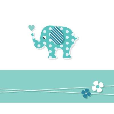 Poster blu bambino carta di elefante di auguri