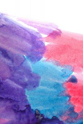 Poster Blu, viola, rosso acquerelli astratti.