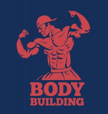 Poster bodybuilder fitness modello muscolo uomo in posa logo. bodybuilder che mostra i muscoli emblema bodybuilding