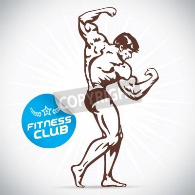 Poster Bodybuilder Modello Fitness Illustrazione
