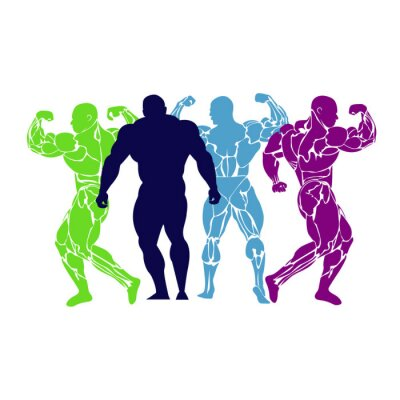 Poster Bodybuilding, potenza di sollevamento, icona, vettore, piatta