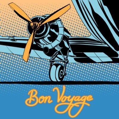 Poster Bon voyage manifesto aereo retrò di viaggio
