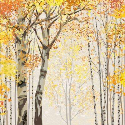 Poster Boschetto di frusta in autunno tempo