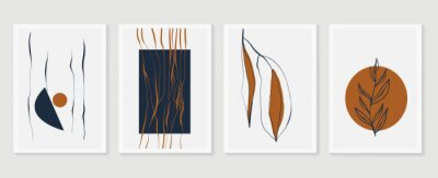 Poster Botanical wall art vector set. Earth tone boho foliage line art drawing with  abstract shape.  Abstract Plant Art design for print, cover, wallpaper, Minimal and  natural wall art.