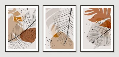Poster Botanical wall art vector set. Golden foliage line art drawing with watercolor.  Abstract Plant Art design for wall framed prints, canvas prints, poster, home decor, cover, wallpaper.