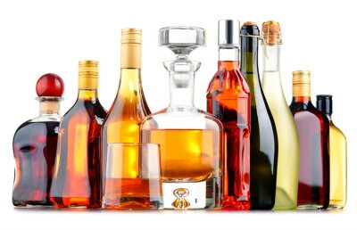 Poster Bottiglie di bevande alcoliche assortite