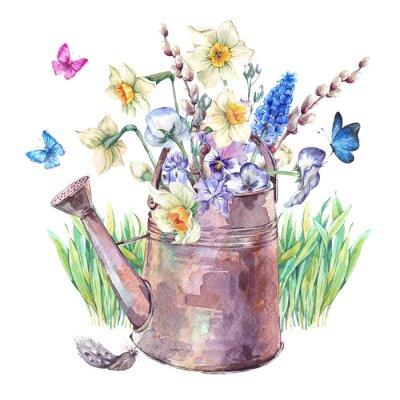 Poster bouquet primavera con narcisi, viole del pensiero, muscari e farfalle