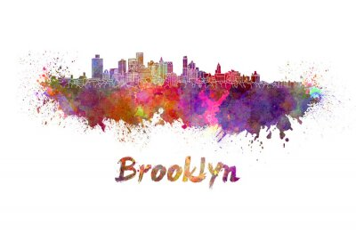 Poster Brooklyn skyline in acquerello