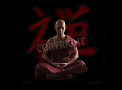 Poster buddhist monk in meditation pose  with zen symbol on the background
