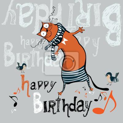 Famoso Buon compleanno divertente cartolina di gatto manifesti da muro  FJ44