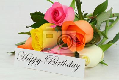 Buon Compleanno Nota E Colorato Mazzo Di Rose Manifesti Da Muro
