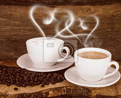 Poster Buongiorno Caffè Con Vapore A Forma Di Cuore