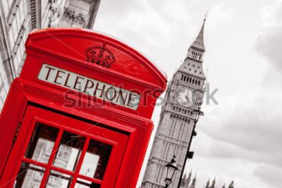Poster Cabina telefonica rossa e Big Ben. Londra, Inghilterra