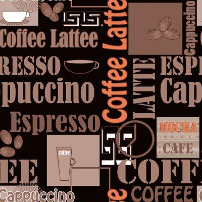 Poster caffè Lettering e le icone seamless retro background
