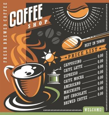 Poster Caffè Menu casa modello creativo