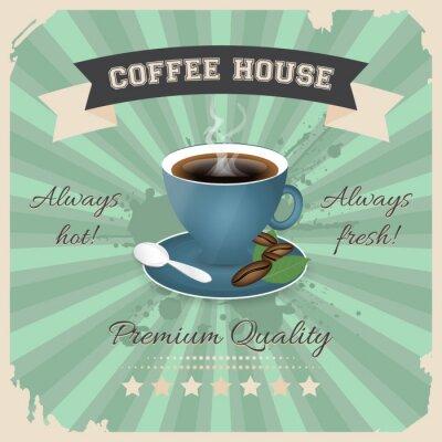 Poster Caffetteria poster design con tazza di caffè in stile retrò.