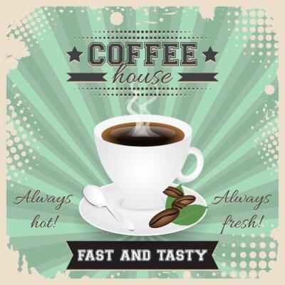 Poster Caffetteria poster design grunge, con effetto mezzitoni. Tazza di caffè, cucchiaio, chicchi di caffè, piatto, foglie e vapore.