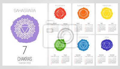 Calendario 12 Mesi.Poster Calendario 2016 Modello Di Progettazione Con 7 Chakra Set Di