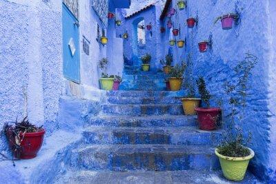 Poster Calles de la ciudad hermosa Azul de Chefchaouen, Marocco