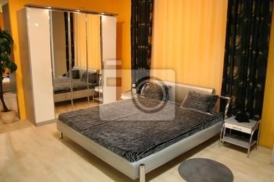 Camera da letto con armadio a specchio manifesti da muro • poster ...