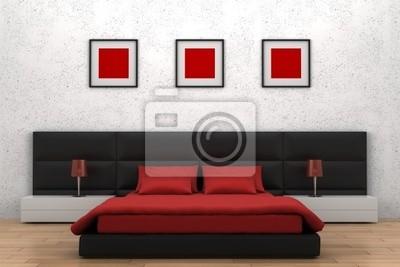 Poster: Camera da letto moderna con muro bianco