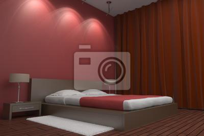 Camera da letto moderna con muro rosso manifesti da muro u poster