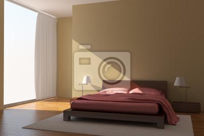 Poster: Camera da letto moderna con pareti gialle
