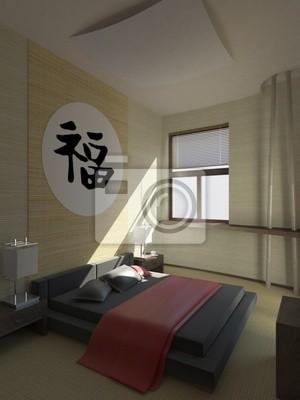 Poster: Camera da letto moderna struttura in stile giapponese