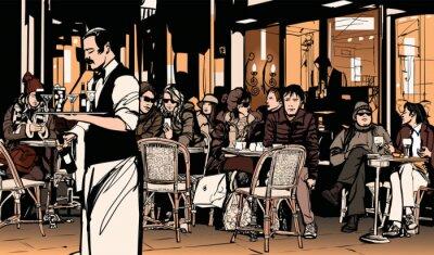 Poster Cameriere che serve clienti in tradizionale caffè parigino all'aperto