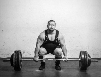 Poster Campione Powerlifter con forti bracci di sollevamento pesi