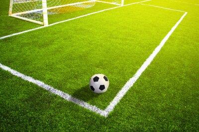 Poster Campo di calcio in erba con la marcatura e la palla, Sport