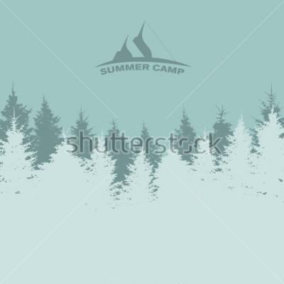 Poster Campo estivo. Immagine della natura. Silhouette dell'albero. Illustrazione