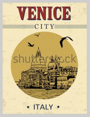 Poster Canal Grande e Basilica Santa Maria della Salute, Venezia, Italia in stile vintage poster, illustrazione vettoriale