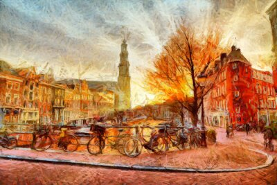 Poster canale di Amsterdam la sera pittura impressionista