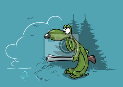 Cane bassotto cacciatore foresta personaggio dei cartoni animati