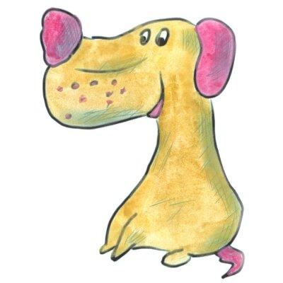 Poster cane marrone con le orecchie rosa cartone animato acquerello isolato