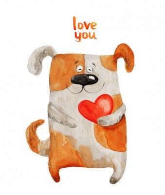 Poster Cane sorridente con il cuore. illustrazione dell'acquerello