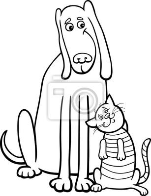 Cani E Gatti Del Fumetto Per Libro Da Colorare Manifesti Da Muro
