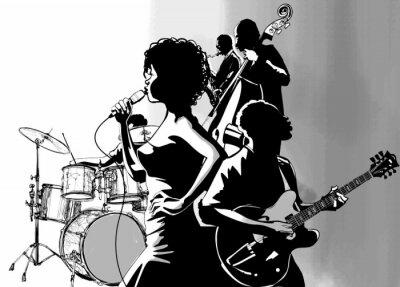 Poster Cantante jazz con la chitarra sassofono e contrabbassista