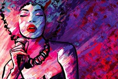 Poster Cantante jazz con microfono su sfondo grunge