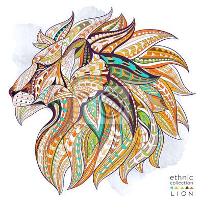 Poster capo Patterned del leone sullo sfondo del grunge. / Disegno / totem / tatuaggio indiano africano. Esso può essere utilizzato per la progettazione di una t-shirt, sacchetto, cartolina, un poster e così