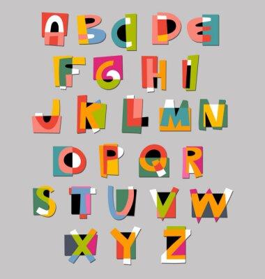 Poster Carattere astratto alfabeto. Carta stile cut-out